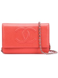 Chanel Vintage Cc Logo Chain Wallet Yellow And Orange