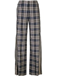 Monse Checkered Wide Leg Trousers Blue