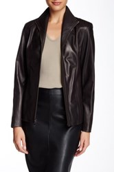 Cole Haan Flap Collar Genuine Leather Jacket Brown