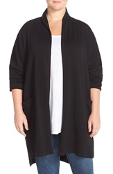 Eileen Fisher Knee Length Fleece Kimono Coat Plus Size Black