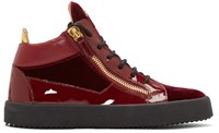 Giuseppe Zanotti Red Velvet London High Top Sneakers
