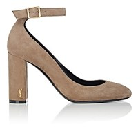 Saint Laurent Loulou Suede Ankle Strap Pumps Brown