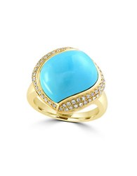 Effy Turquoise Diamond 14K Yellow Gold Ring