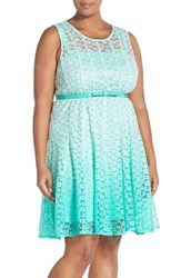 Plus Size Women's Chetta B Ombre Lace Sleeveless A Line Dress With Belt Aqua Mist Multi