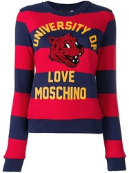 Love Moschino Striped Sweatshirt Blue