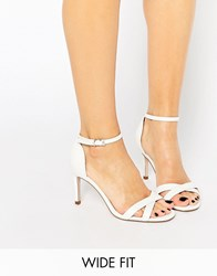 Asos Hide And Seek Wide Fit Heeled Sandals White