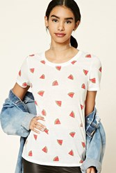 Forever 21 Watermelon Print Tee White Coral