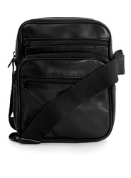 Topman Black Faux Leather Small Messenger Bag