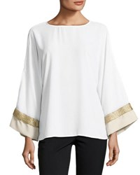 Joan Vass Contrast Cuff Long Sleeve Top White