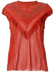 Drome Fringed Perforated T Shirt Red