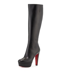 Christian Louboutin Ladyboot Platform Red Sole Knee Boot Black
