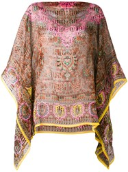 Etro Printed Cape Blouse Women Silk One Size Brown