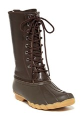 Refresh Hunter Faux Leather Rain Boot Brown