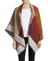 Collection 18 Fringed Geometric Wrap Burgundy