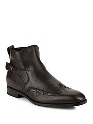 Salvatore Ferragamo Wingtip Brogue Leather Ankle Boots Brown