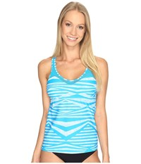 Speedo Mesh Tankini Top Peacock Blue Women's Swimwear