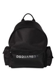 Dsquared Logo Print Nylon Backpack W Piping Black