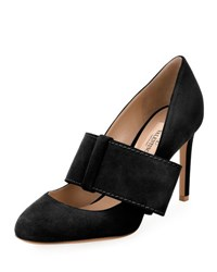 Valentino Suede Mary Jane Bow Pump Black