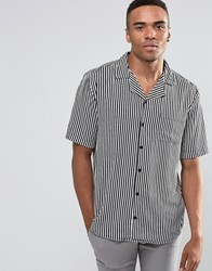 New Look Striped Shirt With Revere Collar In Black And White In Regular Fit Black Pattern