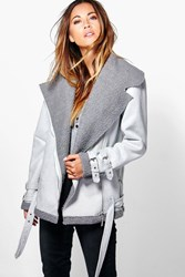 Boohoo Bonded Aviator Jacket Grey