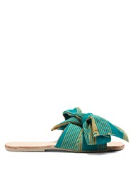 Brother Vellies Burkina Striped Bow Leather Slides Green Stripe