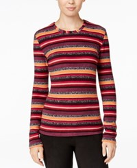 Cuddl Duds Fleecewear Top Warm Stripes