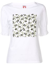 Shrimps Pansy Embroidered T Shirt White