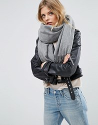 Asos Lambswool Oversized Scarf With Tassels Grey