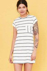 Cooperative Striped Pocket Tee Dress Black And White