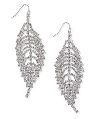 Thalia Sodi Silver Tone Rhinestone Leaf Drop Earrings Only At Macy's