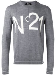 N 21 No21 Logo Pattern Jumper Men Virgin Wool M Grey