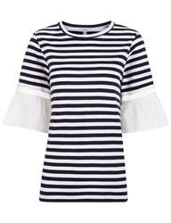 Clu Navy And White Striped Lace Cuff T Shirt Blue