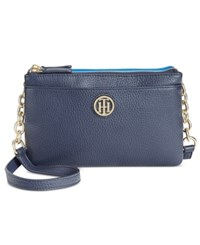 Tommy Hilfiger Double Zip Colorblocked Pebble Leather Crossbody Navy Bright Midnight