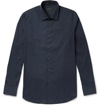 Prada Slim Fit Stretch Cotton Blend Poplin Shirt Midnight Blue