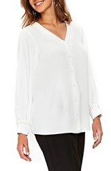 Evans Plus Size Beaded Trim Shirt Ivory