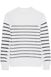 Alexander Wang Mesh Paneled Textured Knit Cotton Blend Sweater White
