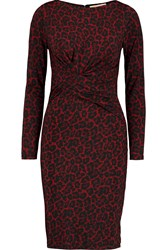 Michael Michael Kors Ellensburg Leopard Print Stretch Jersey Dress Red
