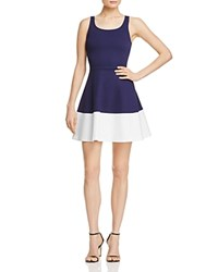 Aqua Sleeveless Color Block Dress Navy White