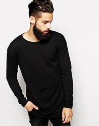 Asos Longline Jumper With Scoop Neck Black