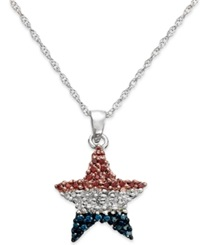 Macy's Diamond Flag Star Pendant Necklace In Sterling Silver 1 4 Ct. T.W.
