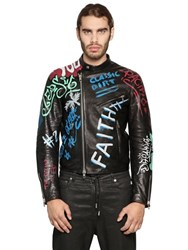 Diesel Black Gold Graffiti Painted Smooth Leather Jacket