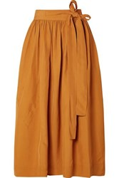Co Pleated Broadcloth Wrap Skirt Saffron
