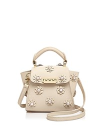 Zac Posen Eartha Iconic Faux Pearl Floral Applique Top Handle Mini Leather Crossbody Ivory Gold