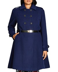 City Chic Double Agent Belted Trench Coat Navy