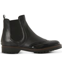 Dune Chelsea Leather Brogue Ankle Boots Black Leather Mix