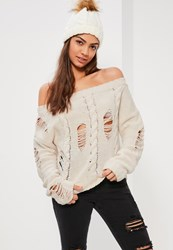Missguided Cream Distressed Cable Off Shoulder Jumper Ivory