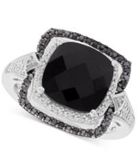 Macy's Onyx 10Mm And Diamond 1 8 Ct. T.W. Ring In Sterling Silver Black
