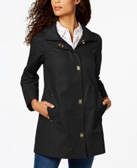 Jones New York Petite Turn Lock Raincoat Black