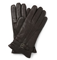 Berluti Cashmere Lined Grained Leather Gloves Brown