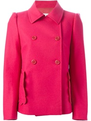 Red Valentino Scalloped Trim Peacoat Pink And Purple